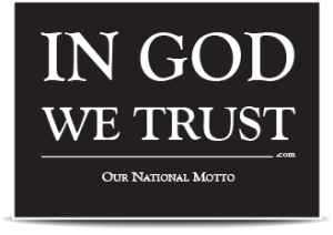 Our National Motto is on this car window decal.